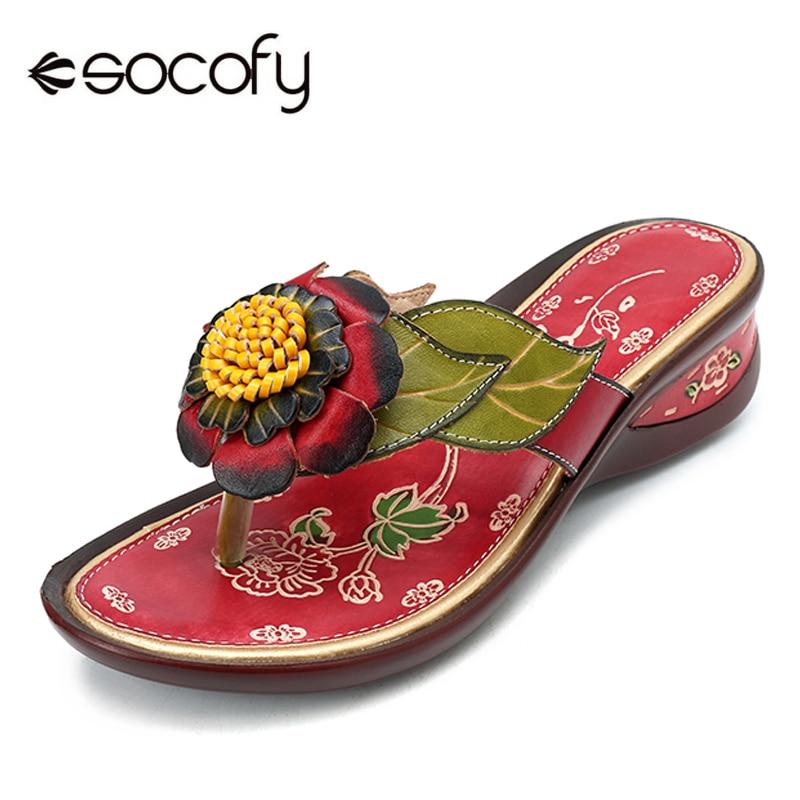 Véritable Flip D'été Fleur Flops Chaussures En Socofy Clip Plage Femmes Occasionnels Rouge Pantoufles Cuir Diapositives Orteil Rétro Bohème SqUpVzM