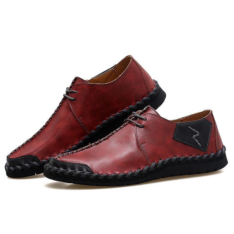 DONGNANFENG Men Male Genuine Leather Shoes Flats Casual Lace Up Breathable Korean Moccasins British Plus Size 46 47 HYZX 12139 in Men 39 s Casual Shoes from Shoes