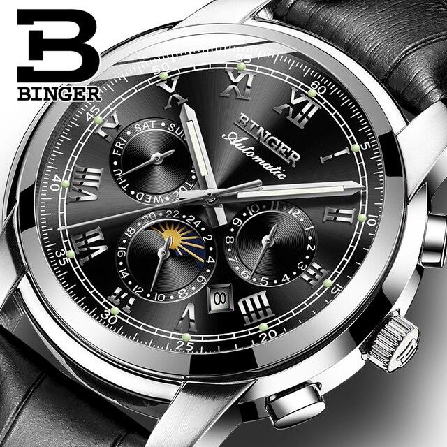 שוויץ אוטומטי מכאני שעון גברים Binger יוקרה מותג Mens שעונים ספיר שעון עמיד למים relogio masculino B1178 12