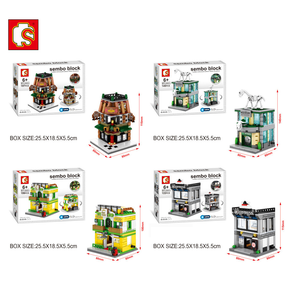 New Mini Street View Building Block Have Light Museum Bar Apartment Express 4PCS/Set Free shipping SD6512 6513 6514 6515 movado museum classic 0606503