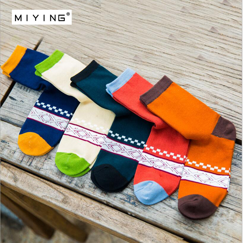 MIYING Men Colorful Socks Breathable Anti-Bacterial High Quality Guarantee Business Skate Socks For Man Youth Boy Student 5Pairs