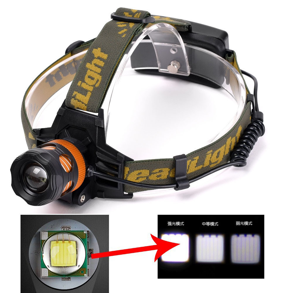 2500Lumen CREE T6 LED Zoomable Headlamp Head Torch Light Bike Lamp Rechargeable Waterproof Battery For Camping High Quality