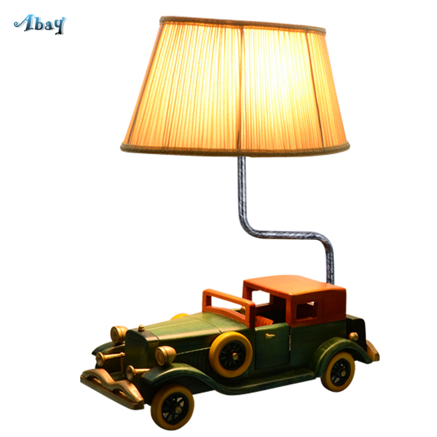 American Led Table Lamp Wood Vintage Cars Shape Creative Boy Bedroom Deco Living Room Table Light Art Desk Study Light Fixture
