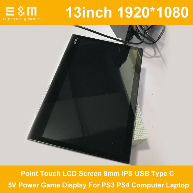 13 pouce 1920*1080 p 10 Point Tactile LCD Écran 8mm IPS USB Type C 5 v Puissance affichage de jeu Pour PS3 PS4 Ordinateur Portable