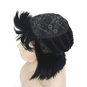 Image 5 - StrongBeauty kadın peruk Bob siyah saç kısa düz doğal sentetik kapaksız peruk renk seçenekleri