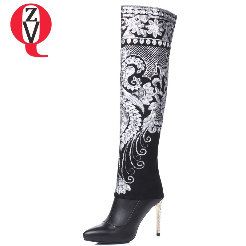 ZVQ 2018 new fashion sxey embroider black genuine leather knee high boots super high thin heels pointed toe zip women shoes zvq 2018 new popular kid suede embroider women shoes super high square heel pointed toe zip black winter warm over knee boots