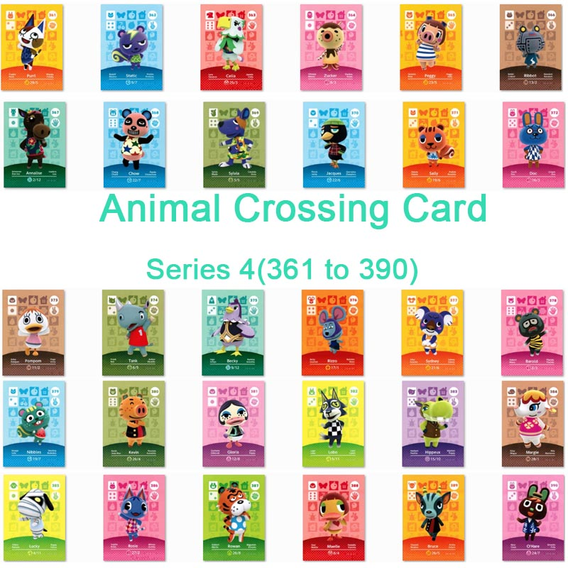 <font><b>Animal</b></font> <font><b>Crossing</b></font> <font><b>Card</b></font> <font><b>Amiibo</b></font> <font><b>Card</b></font> Work for NS Games Series 4 (361 to 390) image