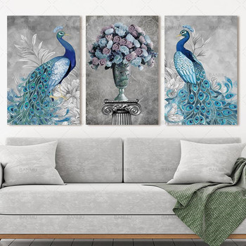 canvas Painting picture Modern wall Peacock and flower  Poster abstract print poster decor prints on art