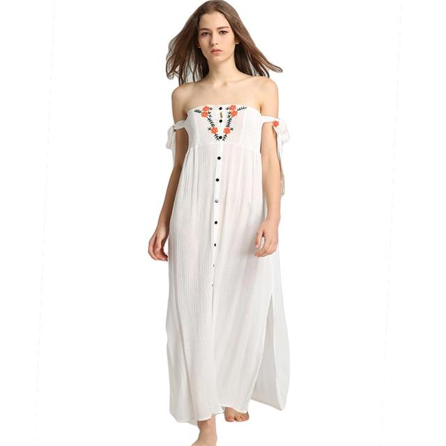 5f76bf2b7d Plus Size Cotton Linen Dress Women Sukienki Damskie White Summer Dress  Floral Embroidery Off Shoulder Sexy