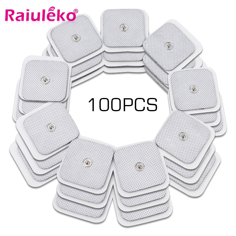 100pcs 4*4cm Square TENS Non-woven Self Adhesive Replacement Electrode Pad For Muscle Stimulator Tens Machine Nerve Stimulator