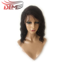 DLME Glueless Lace Front Natural Hair Wig With Side Part 12 inch Brazilian Water Wave Short Bob Wigs Bleached Knots Synthetic