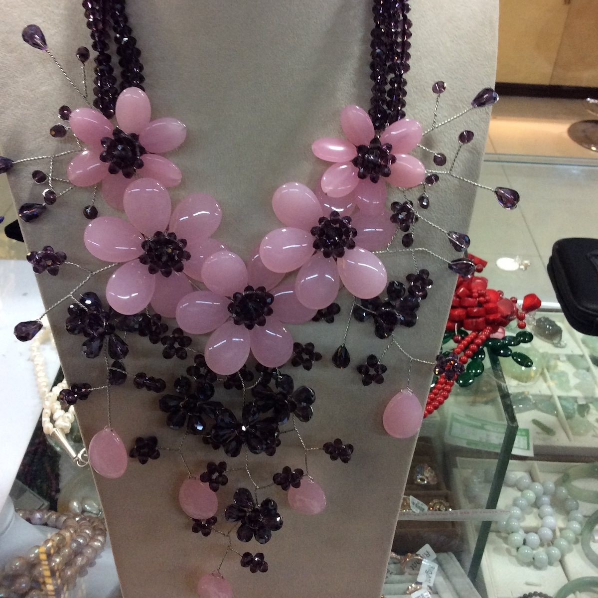 Fashion Jewelry collares de moda 2019 Purple Crystal Baby Pink Jades Flower Chunky Necklace Chokers Necklaces