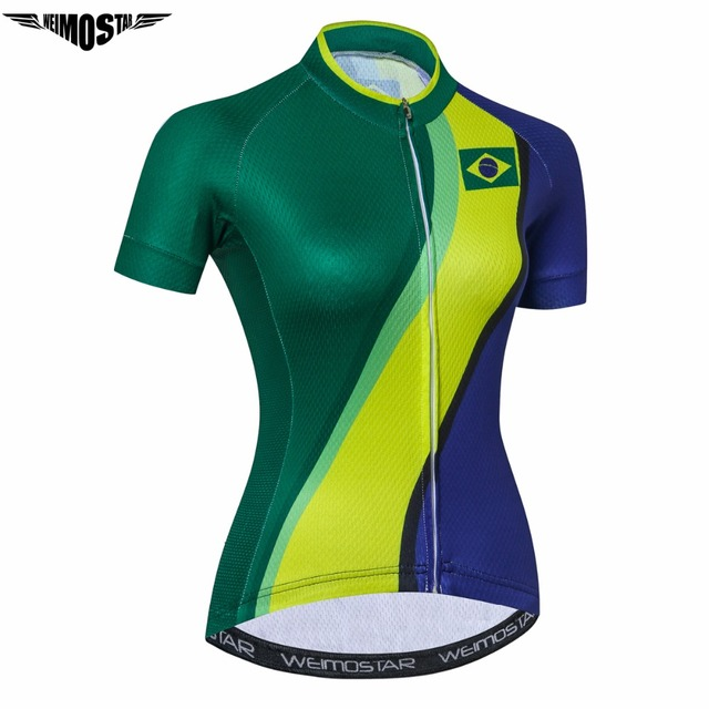 cd7f0fa8f WEIMOSTAR Brazil Women Cycling Jersey Mtb Radfahren Summer Short Sleeve  Cycling Clothing sport bike Jersery ropa Ciclismo shirts
