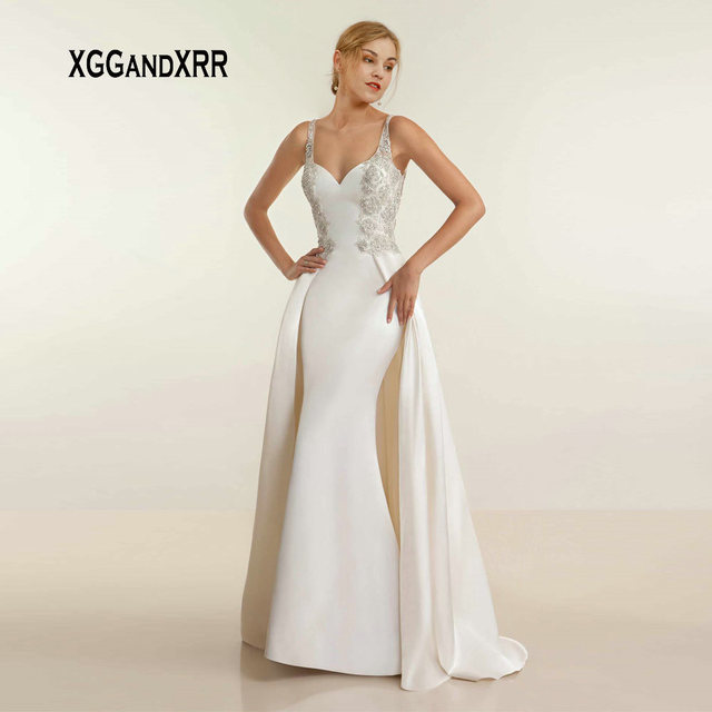 XGGandXRR Romantic Mermaid Satin Wedding Dress 2019 Sexy Sweetheart Beading Appliques Straps Sheer Back Long Bridal Gown