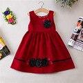 Ранняя Весна Осень Платье Девушки Вельвет Рукавов детская Цветочное платье девушки зима платье платье принцессы наряды