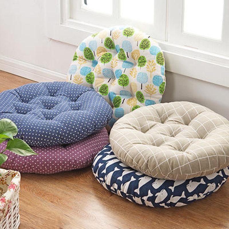 Japon Style Ronde Siège Coussin Pour Canapé Chaise De Voiture Décor À La Maison, tatami Épais Coton Lin Coussin Pad Fesses Tapis, Almofadas, 3 taille