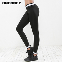 Woman Black Sports Trousers Tight Leggings Fitness White Patchwork Midriff Waist Yoga Pants Gym Clothes Running Training Pants