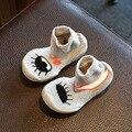 2017 Дети shoes весна осень мальчиков марка shoes с носок для детей мода хлопок ткань случайные тапки малышей черный