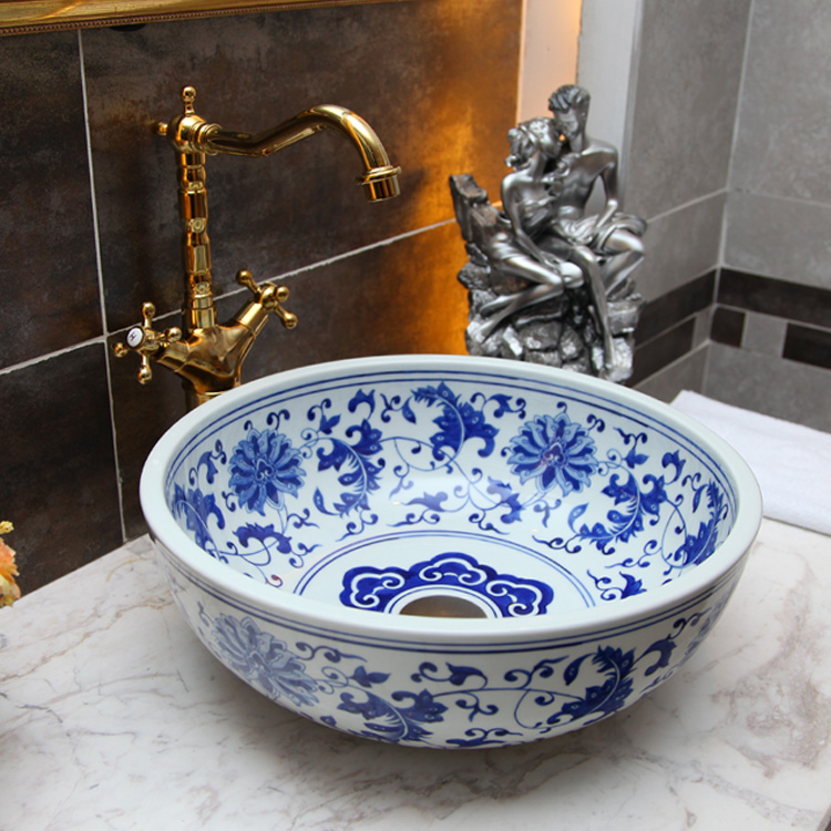Blue And White Porcelain Bathroom Vanity Bathroom Sink