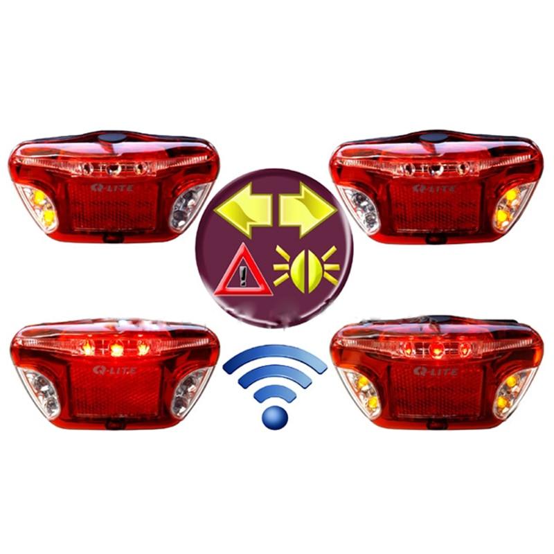 Q-LITE безопасности светодиодный Multi-Функция Беспроводной велосипед Тормозные индикатор Хвост заднего света велосипед несущей стойки Задние ...