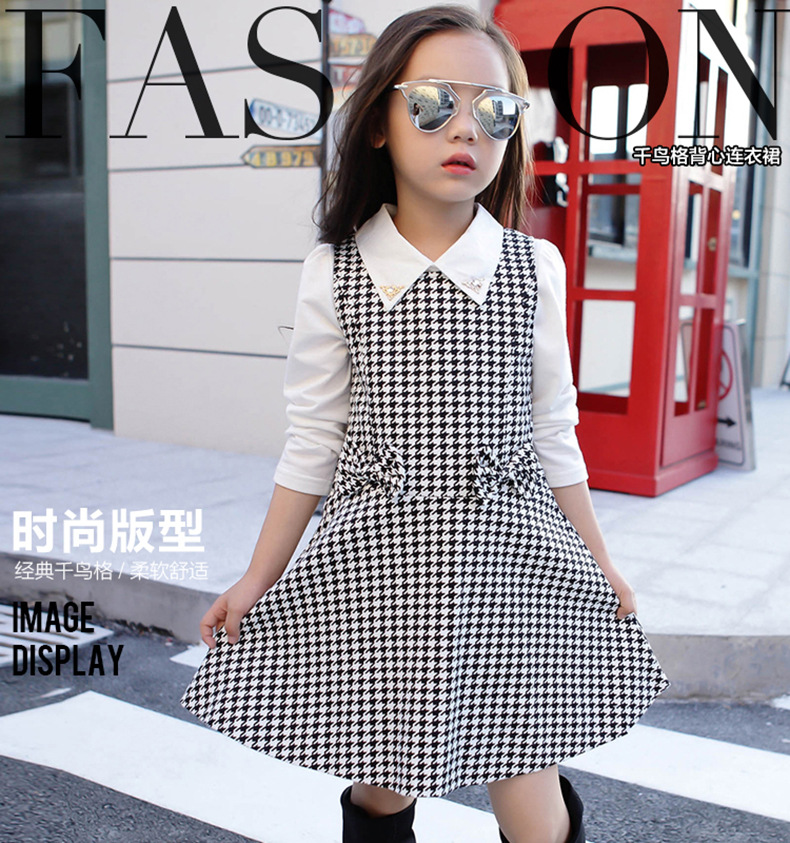 High Quality Girl Dress 2018 Spring and Autumn New Girls Houndstooth Dress Baby Girl Sweater Dress Plaid Pattern Dress in Dresses from Mother Kids