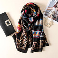 [Peacesky] 2016 Fashion bandana Luxury Letters And Pictures Scarve Woman Brand Silk Scarf Women Shawl Print hijab