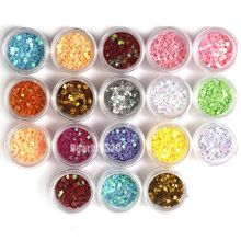 18pcs Star Heart Flower Glitter Flakes Nail Art Decorations For Acrylic 3D/UV Gel  Free Shipping