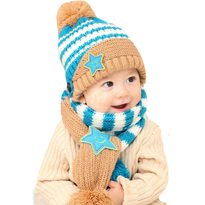 2018 Fashion New Winter 5-Star Children Skullies   Beanies Scarf Hat Set Baby  Boys Girls Knitted kids Hats   Caps Free shipping 997ab7a4aae