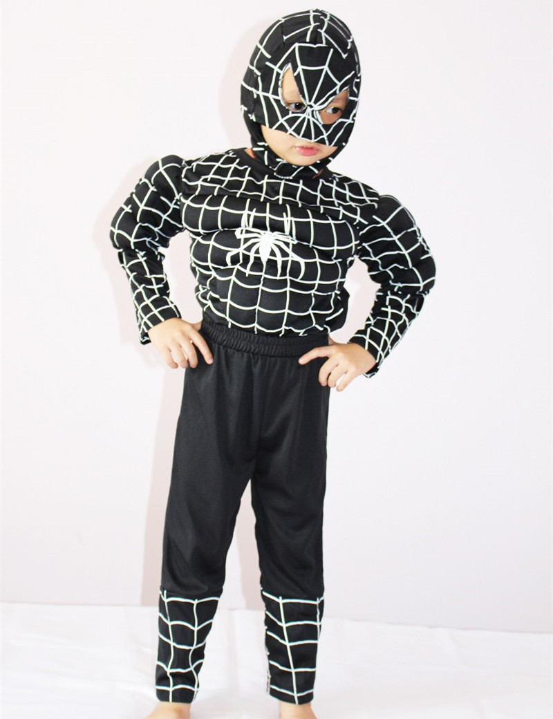 3-7Years Kids Black Spiderman Muscle Costume Halloween Party Costume For Boys Muscle T-Shirt Set S-XXL