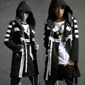 HOT 2016 spring New fashion casual outerwear men thin with a hood trench DJ rights Zhi-long same style singer costumes long coat