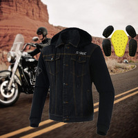 SSPEC Motorcycle Vintage Denim Jacket Men Hooded Jackets Veste Moto Homme Riding Motorbike Casual Wear With Protective Gear Coat