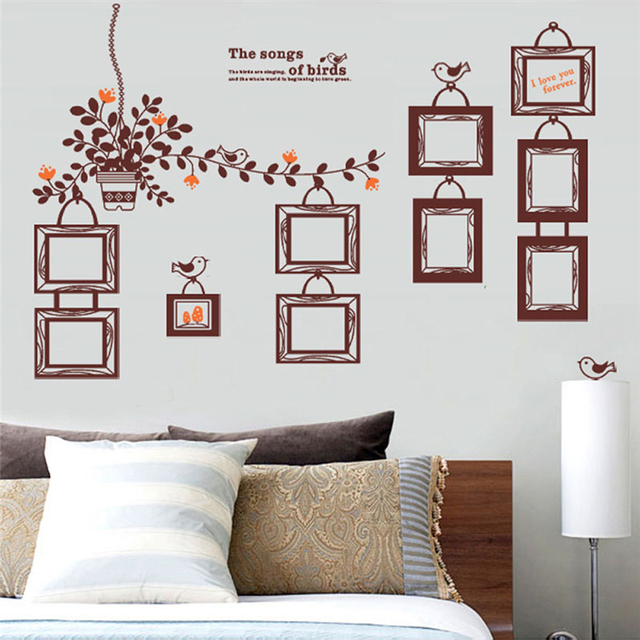 the songs of birds letters photo frame wall art decals living room ...