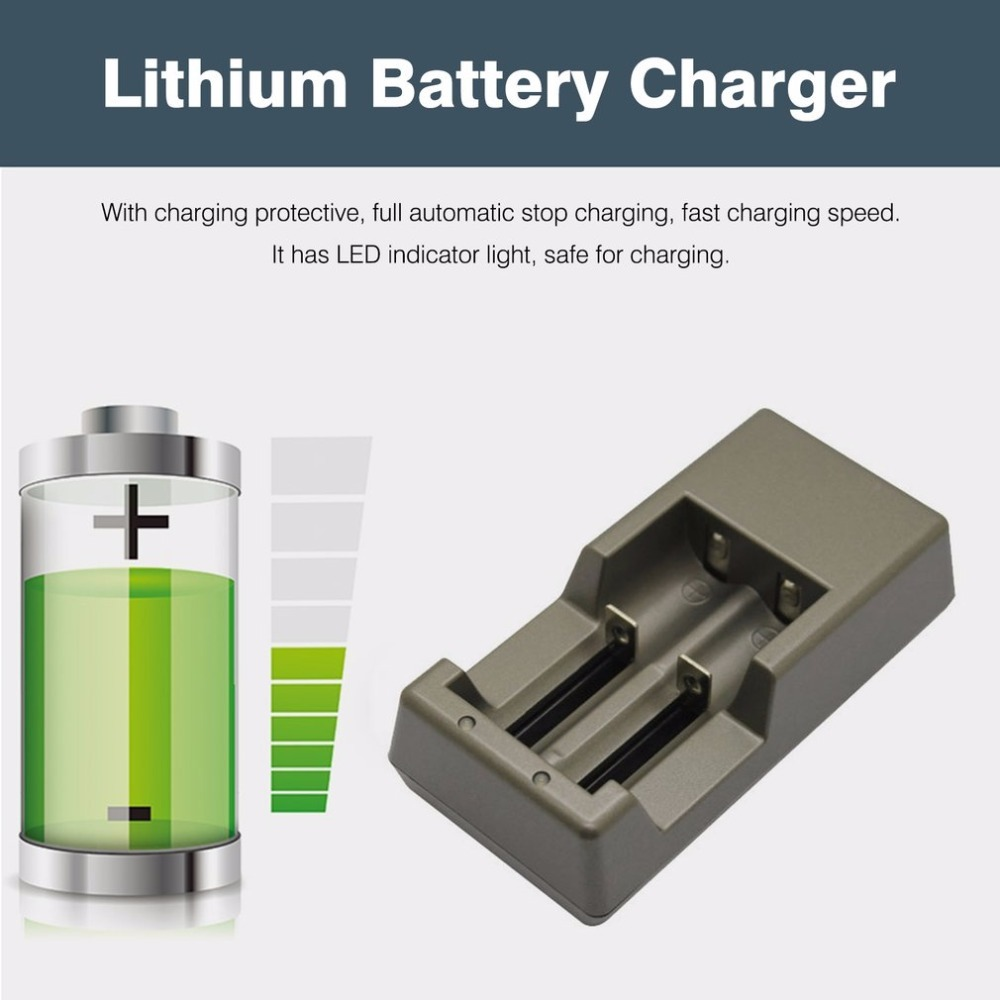 PALO Short Current Protective Battery Charger 2 Slots for 18650/17650/17335/14500 Lithium Battery Charger With Indicator Light