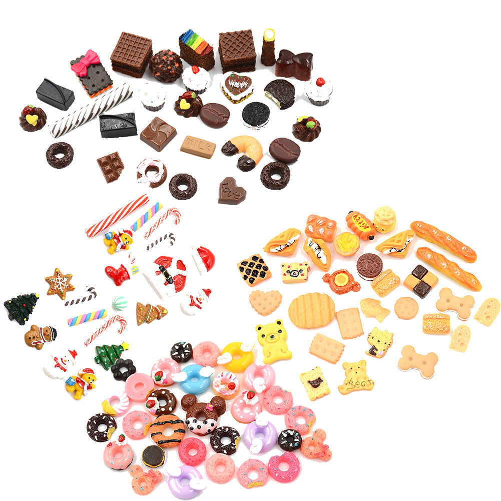 30pcs/lot Mini Play Food Cake Biscuit Donuts Dolls Miniature Pretend Toy For   Dolls Accessories