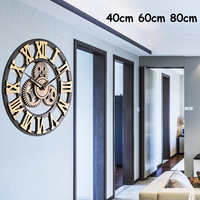 40/60/80cm Retro Vintage Handmade Wood Wall Clock Luxury European 3D Decorative Large Gear Wooden Wall Clock Home Decor Gift
