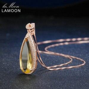 Image 3 - Lamoon luxo natural lágrima citrino 925 prata esterlina corrente pingente colar feminino jóias s925 lmni042