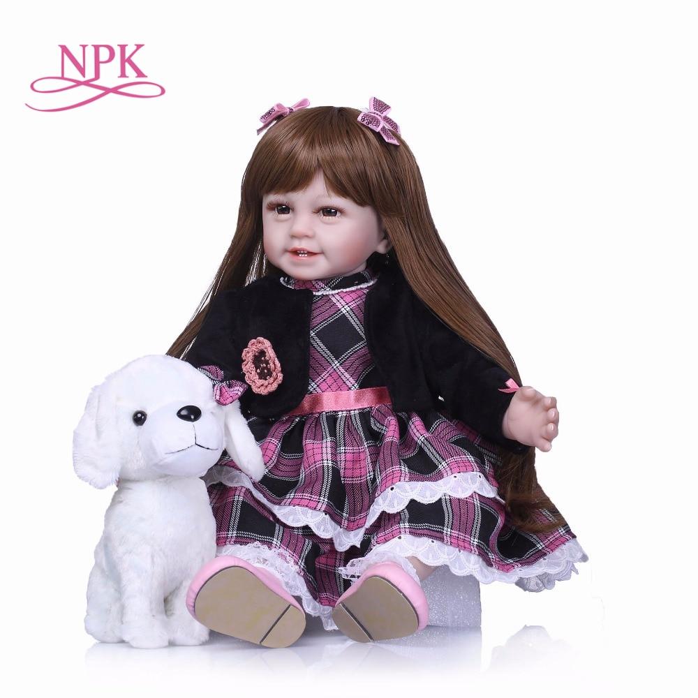 NPK 55cm Silicone Reborn Smile Baby Doll Kids Playmate Gift for Girls Bebe Alive Soft Toys