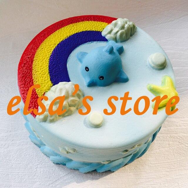 imágenes para Blando 1 unids super lento aumento jumpo rare blando lindo azul océano torta esponjosa con etiquetas juguetes blandos kid juguete de regalo Envío Gratis