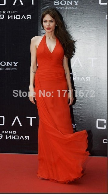 9bf01179e Gasa del halter Angelina Jolie Red Carpet Oscar Vestido de 2016 Elegante  Piso-Longitud Gasa