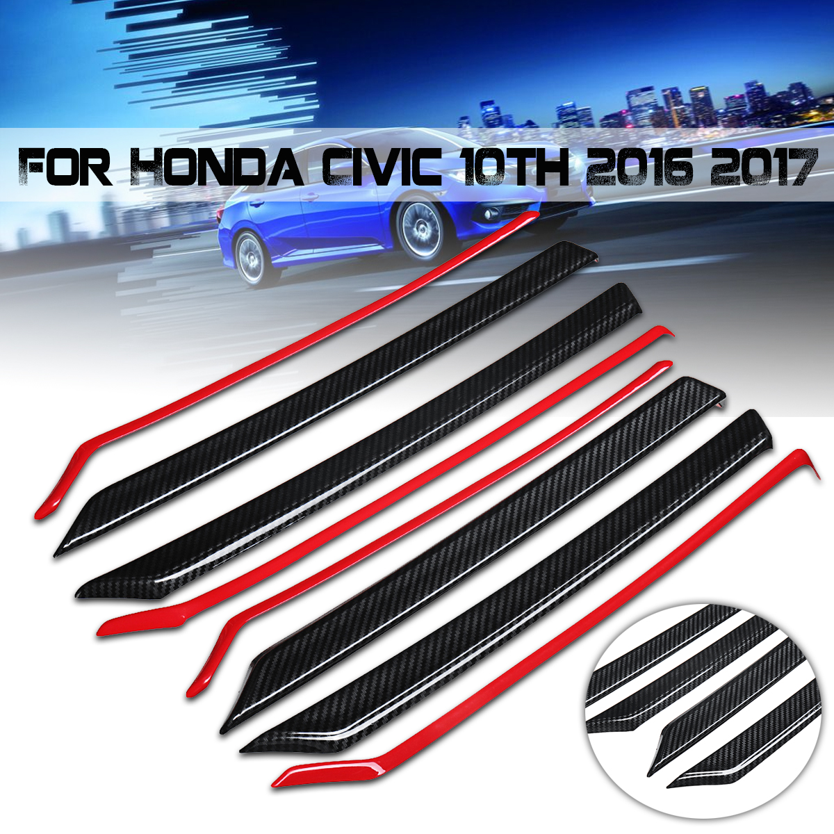 Auto Door Stickers Cover for Honda for Civic 10th 2016 2017 Car Interior Accessories 8pcs Carbon Fiber Style Trim Mouldings Set car carbon fiber color abs interior mouldings inner gear shift covers panel trim decal for honda civic 2006 2011 mt car styling