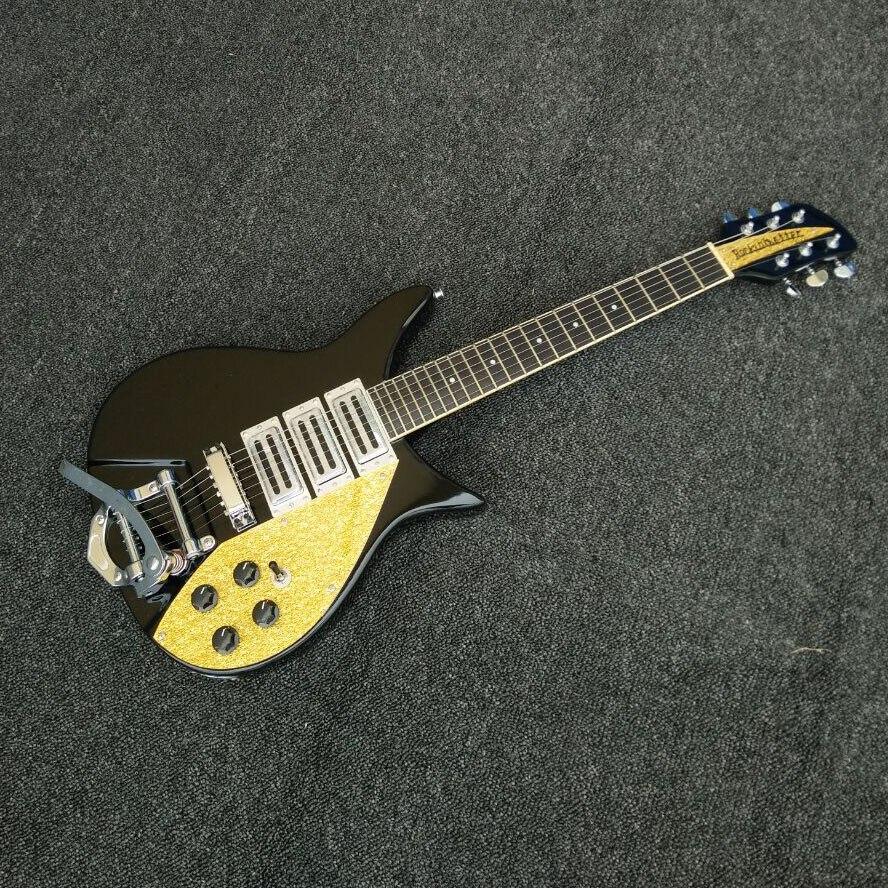Guitare électrique noir Ricken 325 John Lennon édition limitée 3 micros or Pickguard chinois personnalisé Rick Jazz guitares