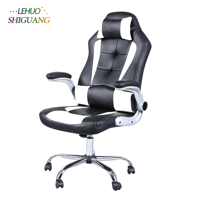 все цены на White black PU leather High Back Chair Gaming Chair With Headrest Rotating lift soft office chair Fashion office furniture