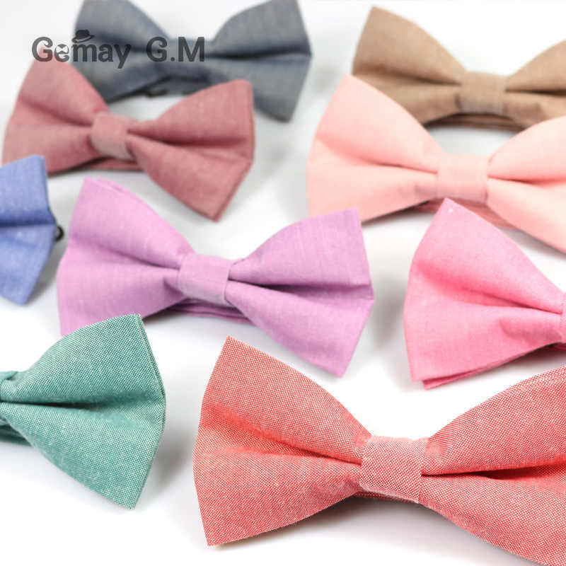 New Men's solid color cotton bow tie double Candy-colored Suit Bowtie Unisex Cotton Double-deck Bowties for Man Male Neckwear