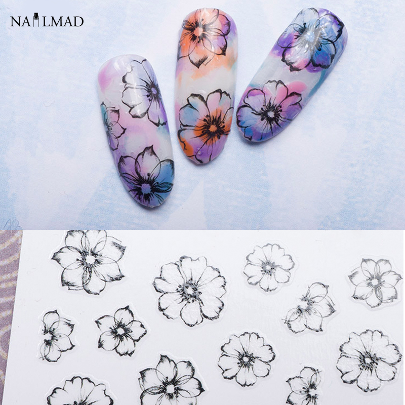 product 1 sheet Watercolor 3D Nail Art Stickers Fading Flower Nail Sticker Adhesive Nail Decals