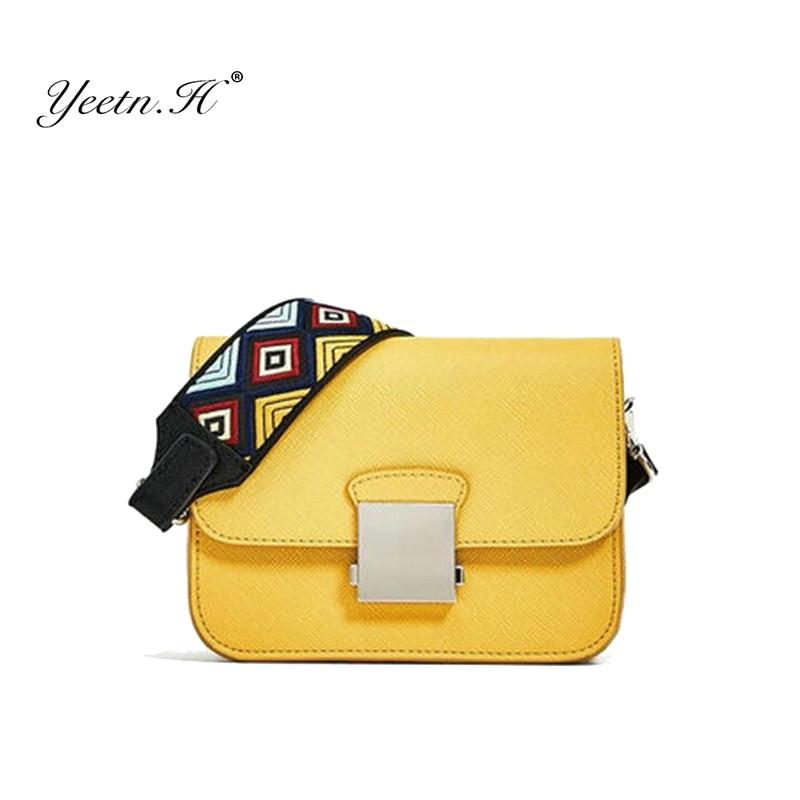 Yeetn.H Women Messenger Bag Yellow Mini Crossbody Bags Two Shoulder Straps Designer Handbags High Quality Ladies Y2153