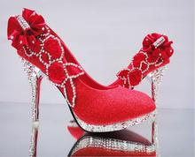 2016 spring and summer thin bride wedding shoes red high-heeled shoes shallow mouth high heels golden wedding bridesmaid shoes
