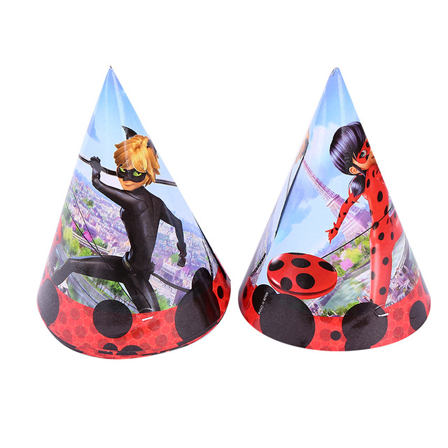 6pcs 20145cm Cartoon Miraculous Ladybug Cat Paper Cap Hat Kid Boy Birthday Party Supplies Theme Decoration