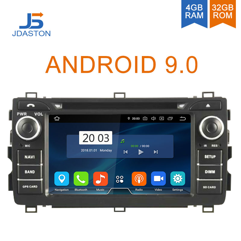 JDASTON 2 DIN Android 9.0 Car DVD Player For Toyota Auris 2013 2014 2015 Octa Core 4G+32G Car Radio Multimedia GPS Stereo Audio