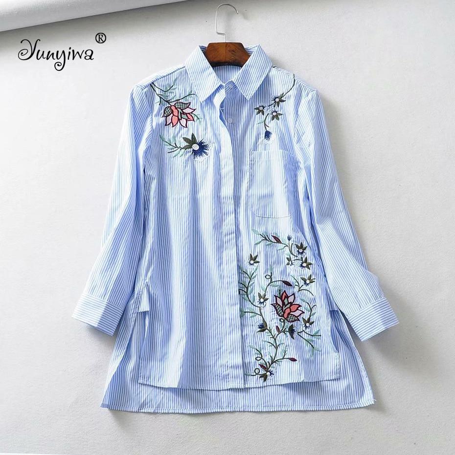 Yuuyiwa Women   Blouses     Shirts   Women's new irregular embroidery long-sleeved   shirt   Tops Blusas Mujer De