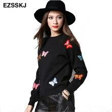 Зимние женские свитера и пуловеры, вязаный свитер с аппликацией бабочки, Топ с длинным рукавом, Женский Повседневный осенний свитер для женщин